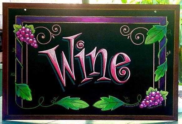 Chalk art menu boards wine for Wine chalkboard art